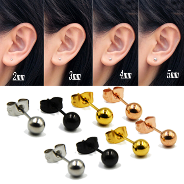 accd2faa2bac9 US $0.53 11% OFF|2PC 20g Surgical Steel Silver,Black,Gold&Rose Gold Color  Ball Stud Earrings Punk Ear Tragus Ear Piercing Fake Taper For Women-in  Stud ...