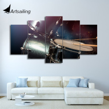 HD Printed 5 Piece Canvas Art Drum Painting Musical Instruments Modular Wall Pictures for Living Room