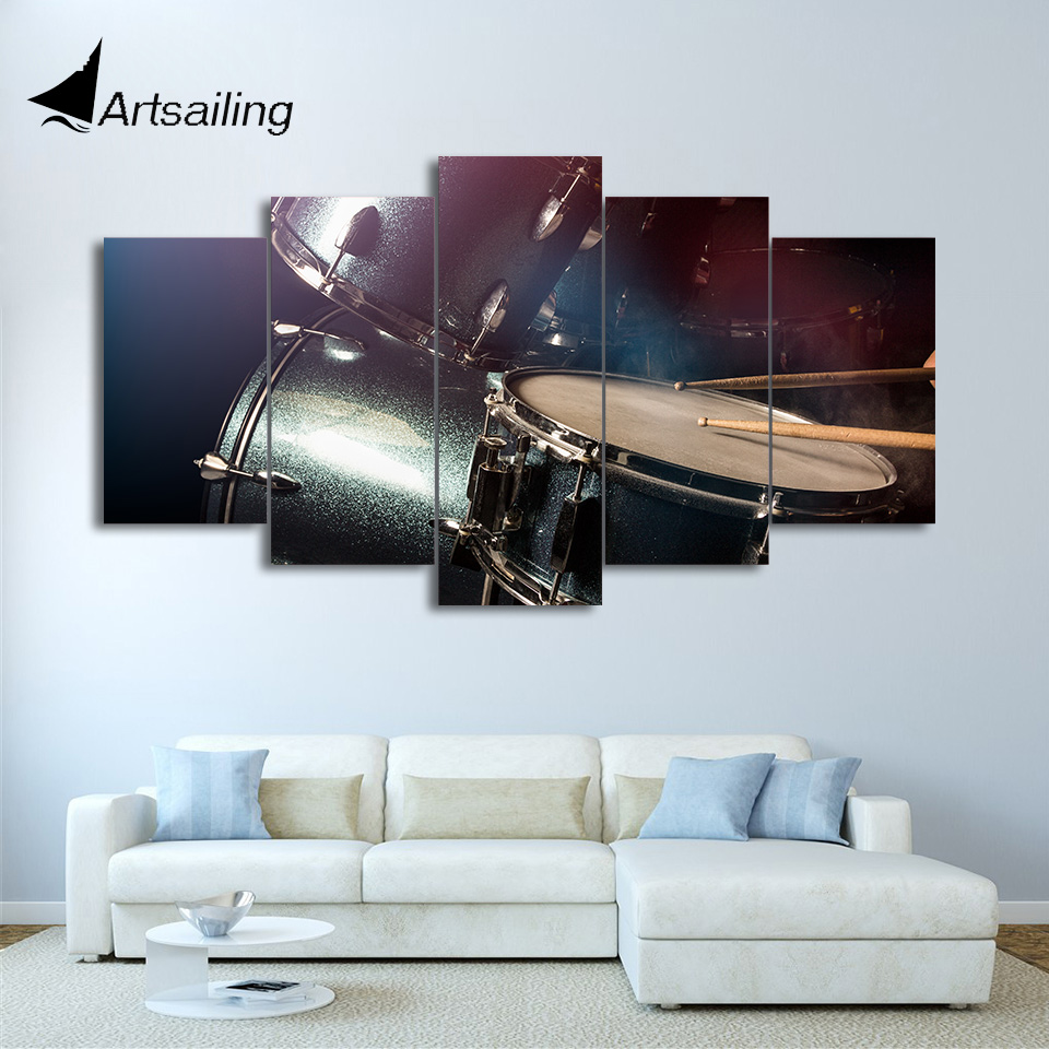 HD Printed 5 Piece Canvas Art Drum Painting font b Musical b font font b Instruments