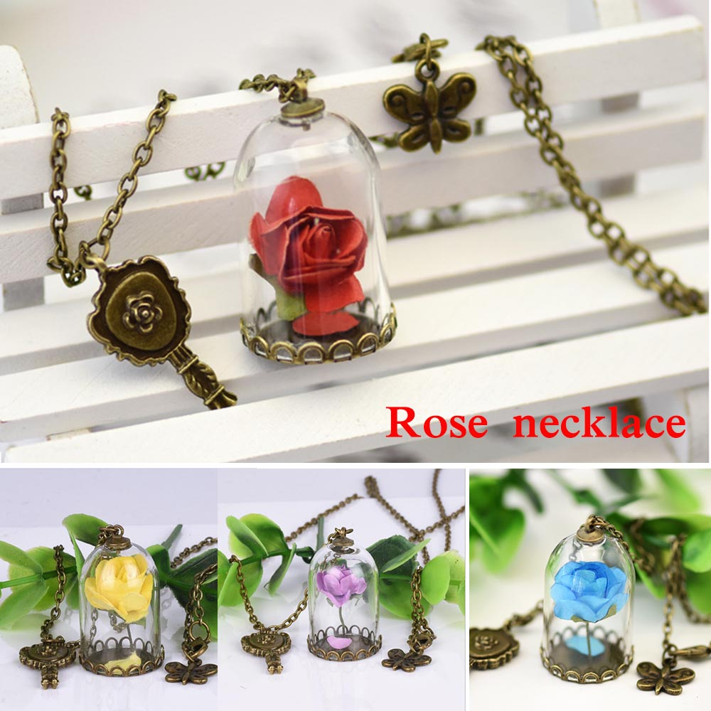 2018 Movie Beauty and the Beast Princess Belle  Rose Pendant necklace chain glass rose flower Model cosplay accessary toys