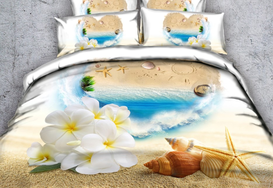Beach Bedding Set Floral Love Bed Sheets 3D Quilt Duvet Cover Bed In A Bag  Sheet Linen California King Queen Size Full Twin 4PCS In Bedding Sets From  Home ...