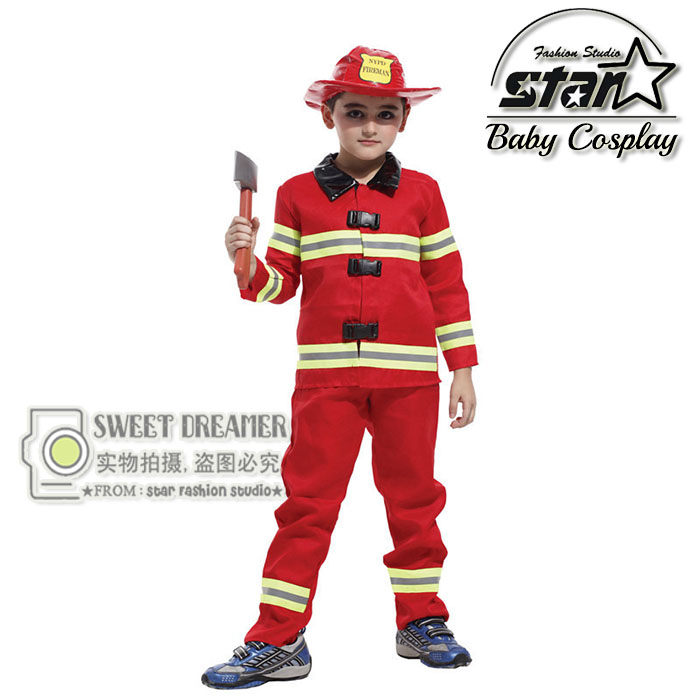 Halloween Children Kids Fireman Costume Role-Playing Stage Performance Funny Clothing Firefighters Fire Team Cosplay For Boys super hero boys halloween cyclops performance costume superhero jumpsuit for children masquerade stage party costume