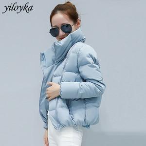 Image 1 - 女性ショートジャケットパーカー Mujer 2019 冬のジャケットコートファッション秋固体暖かいカジュアル詰めダウンパーカー女性のコートの女性