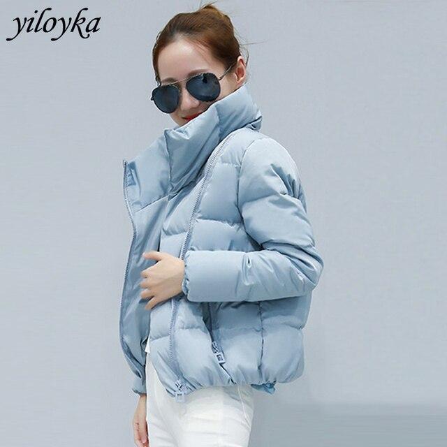 女性ショートジャケットパーカー Mujer 2019 冬のジャケットコートファッション秋固体暖かいカジュアル詰めダウンパーカー女性のコートの女性