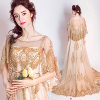 Robe De Soiree Evening Party Dress Real Photos Red Gold Lace Tulle Crystal Kaftan Party Occasion