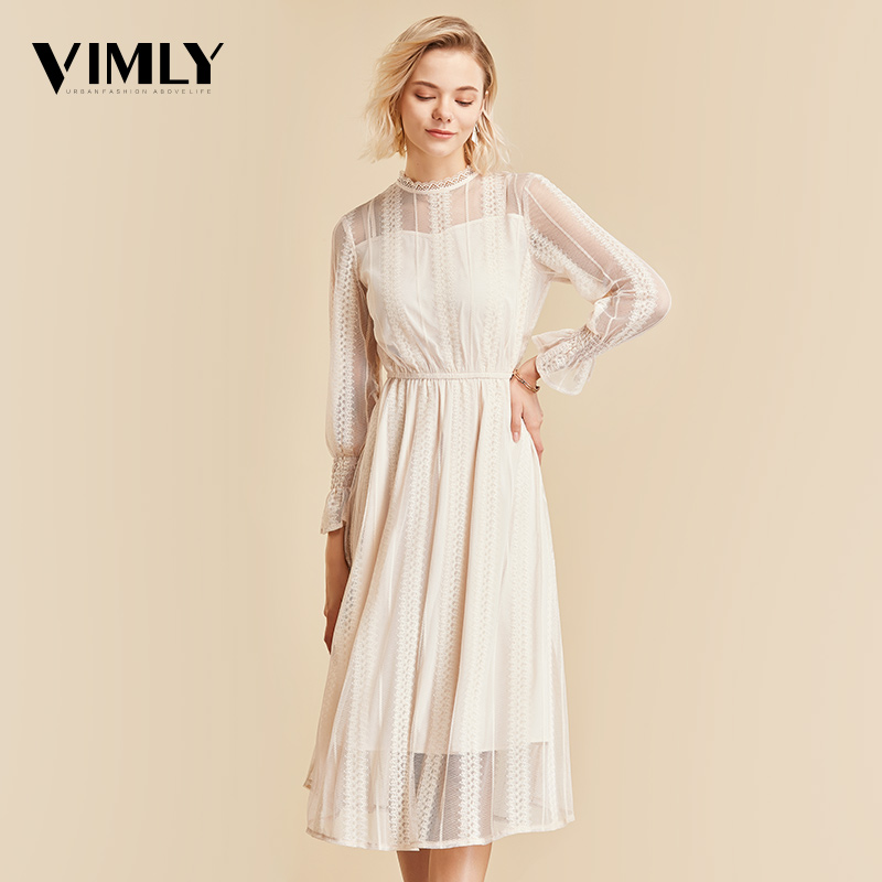 Vimly Elegant Mesh Lace Embroider Women Dress Stand Neck Flare Sleeve Party Dresses Sexy Midi Elastic Waist Hollow Out Dress-in Dresses from Women's Clothing