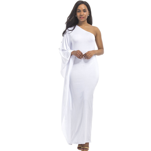 007883b0d4aea US $15.07 26% OFF|2018 Autumn White Black Plus Size 3XL Sexy Dress High  Elastic One shoulder Evening Party Long Dresses Robe Large Size vestidos-in  ...