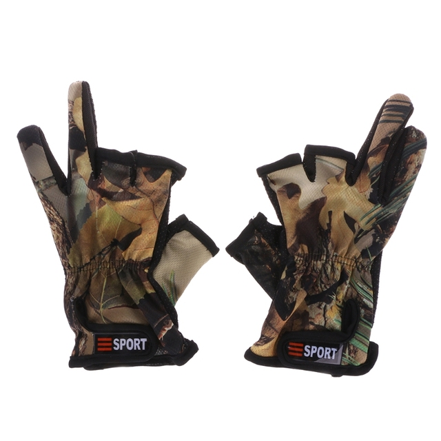 Best Offers 2019 New 1 Pair Fishing Gloves 3 Cut Finger Slit Outdoor Sports Anti Slip Breathable Camouflage
