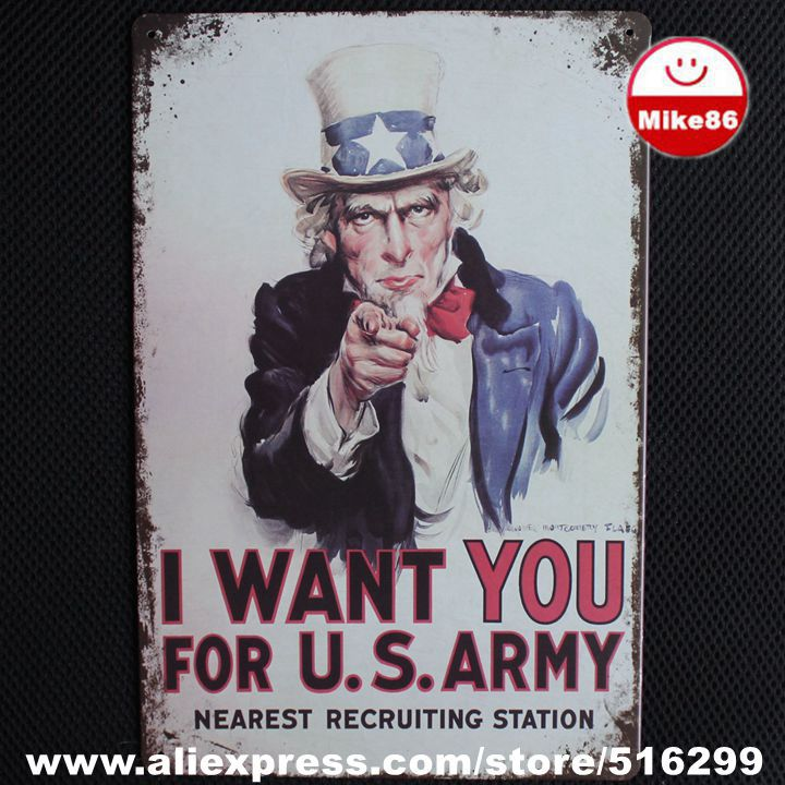 [ Mike86 ] 2015 I WANT YOU Metal Poster PUB Decor Retro Home Art Wall Sign Party Decoration 20*30 CM Mix Items AA-447