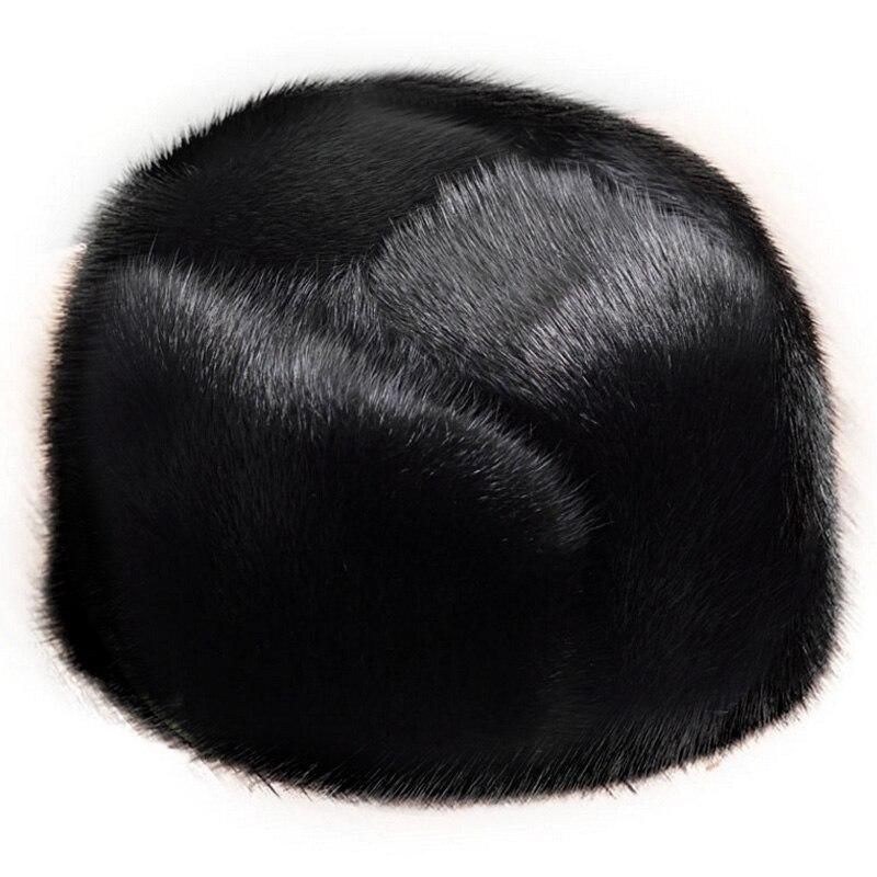 Glaforny hommes De Fourrure De Vison de fourrure de vison chapeau Hommes Trapper Cap Véritable peau de Mouton En Cuir Chasse Chapeau Ushanka