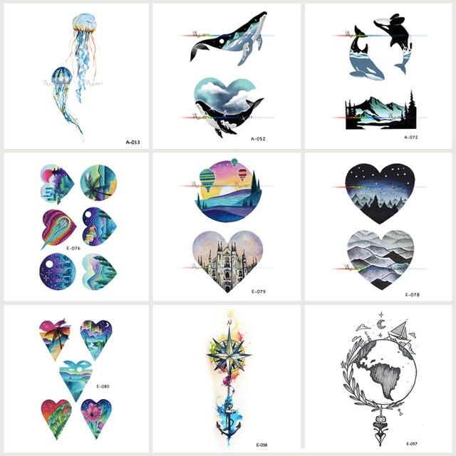 e019a16d6 Wyuen 9 PCS/lot Mountain Moon Waterproof Temporary Tatoo Stickers City Fake  Tattoo for Women Men Body Art Whale Tattoos JY-038