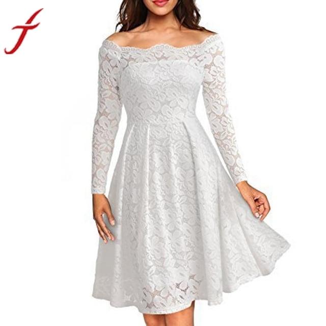 Mode Frauen Kleid Floral Weiße Spitze Kleider Elegant Lady Langarm ...