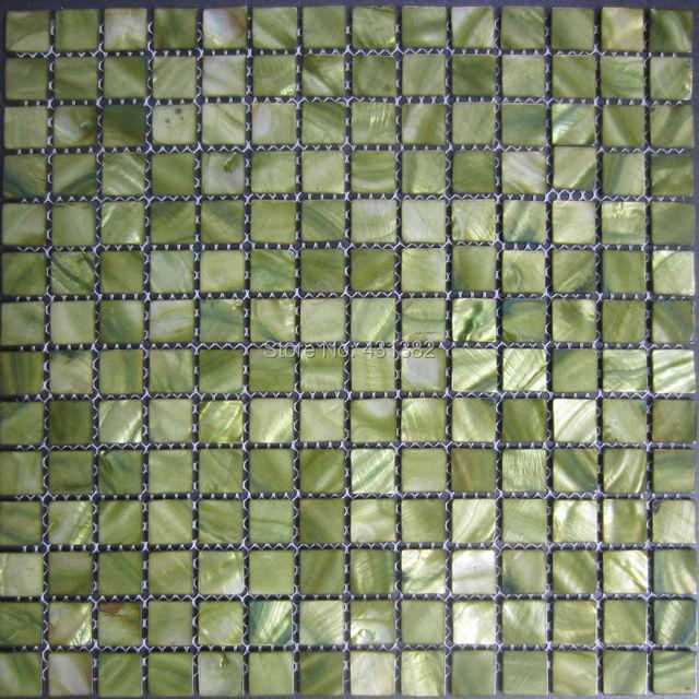 Uitzonderlijk 11 stks groene Mozaïek tegels, parelmoer tegels, Innerlijke Muur #NE81
