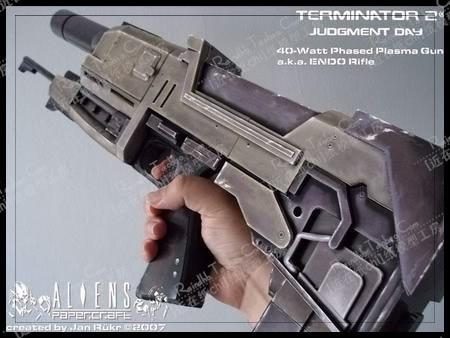 1 1 firearms Terminator 2 T2 T800 Laser rifle 3D paper model DIY