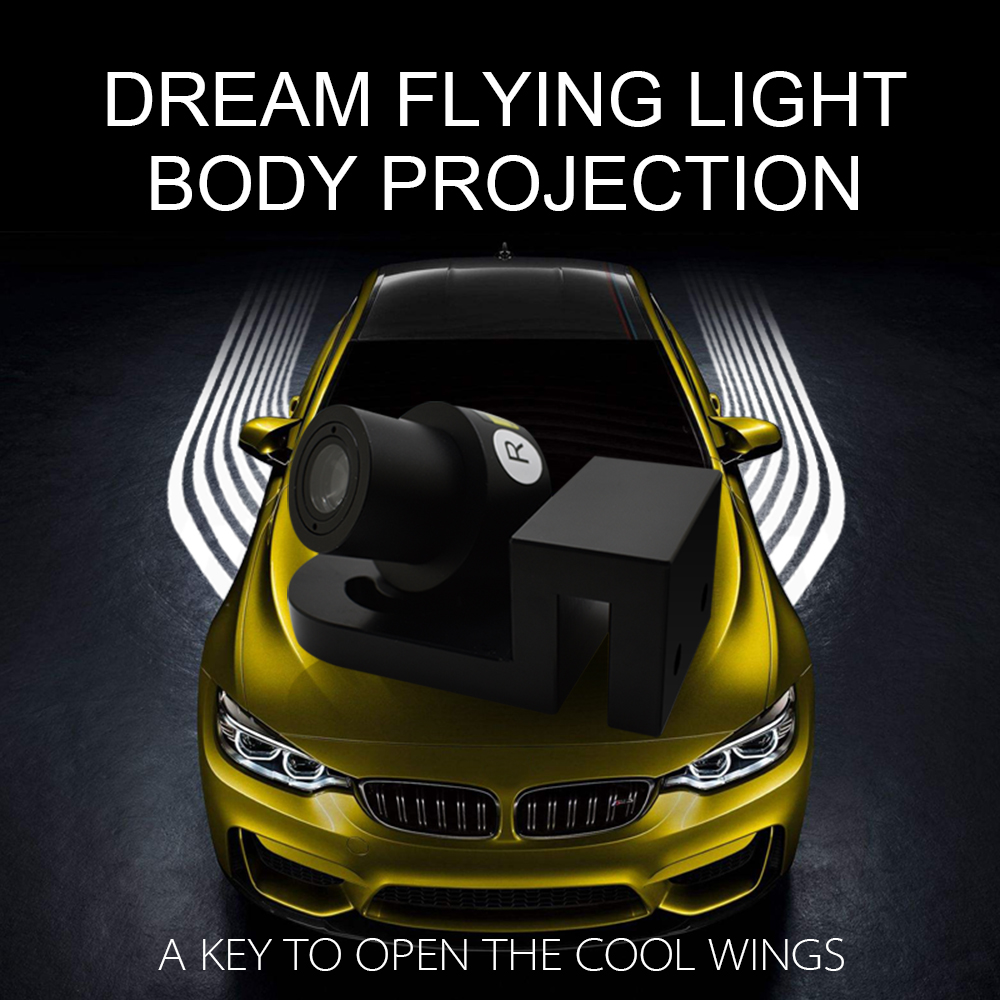 1 sets of Perfect factory 2018 Hot Sale LED Angel Wing Light Dream Fly Light LED Logo light for Universal Car