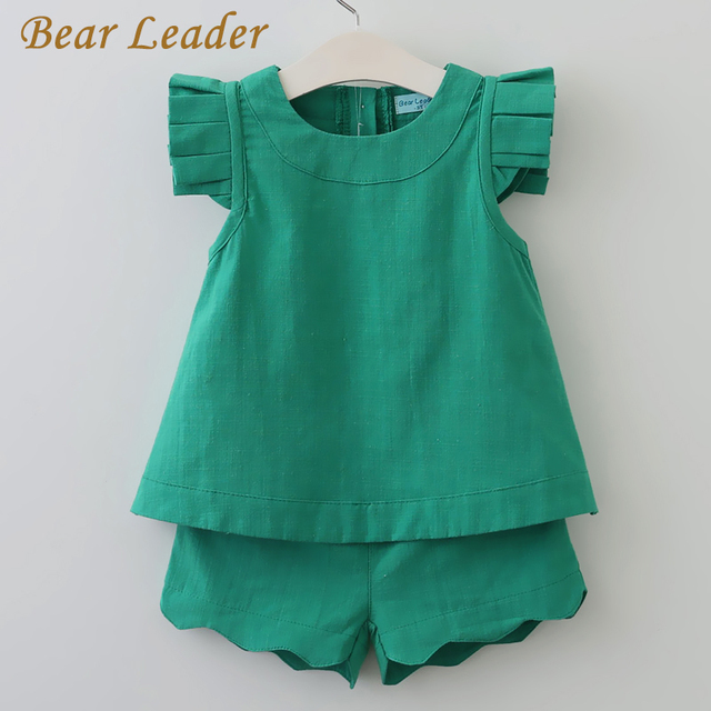 Bear Leader Girls Clothing Sets 2017 New Arrival Spring&Summer O-Neck Sleeveless  Solid Kids Clothing Sets Children Clothing