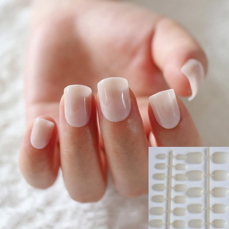 24pcs Natural Beige Candy Women False Nails Sparkly Nail Art Full ...