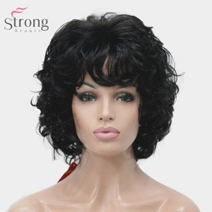 Image 3 - StrongBeauty Womens Synthetic Wig Natural Hair Blonde/Black Hairpiece Short Curly Wigs
