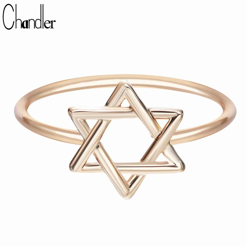 Chandler Original David Star Ring Pentagram Midi Mid Pikine Toe Bague Tiny Infinity Wedding Band Bridal Jewelry Carters Anillos