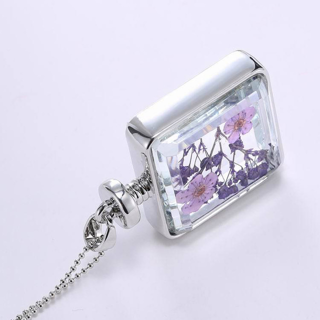 Square Dried Flower Pendant
