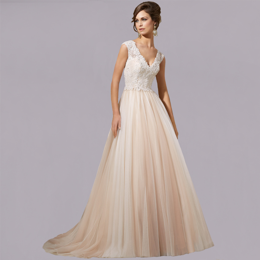 V Neck Cap Sleeve Vestido De Noiva A Line Custom Made Long Tulle Lace Bridal Gown 2015 New Arrival Mother Of The Bride Dresses