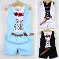 Детская одежда мальчиков установить ребенок мальчиков летней одежды набор ребенок красивый искусственный двух частей футболку жилет плед школьная одежда