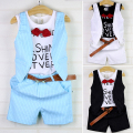 Children's clothing boys set child boys summer clothes set child handsome faux two piece t-shirt vest plaid school clothes