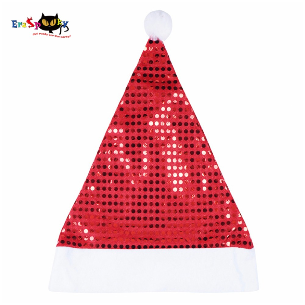 2017 New Arrival Christmas Accessories Red Christmas Hat Women Sequined Hat For Adult Golden Color Santa Claus Hat Cap Fur Pom