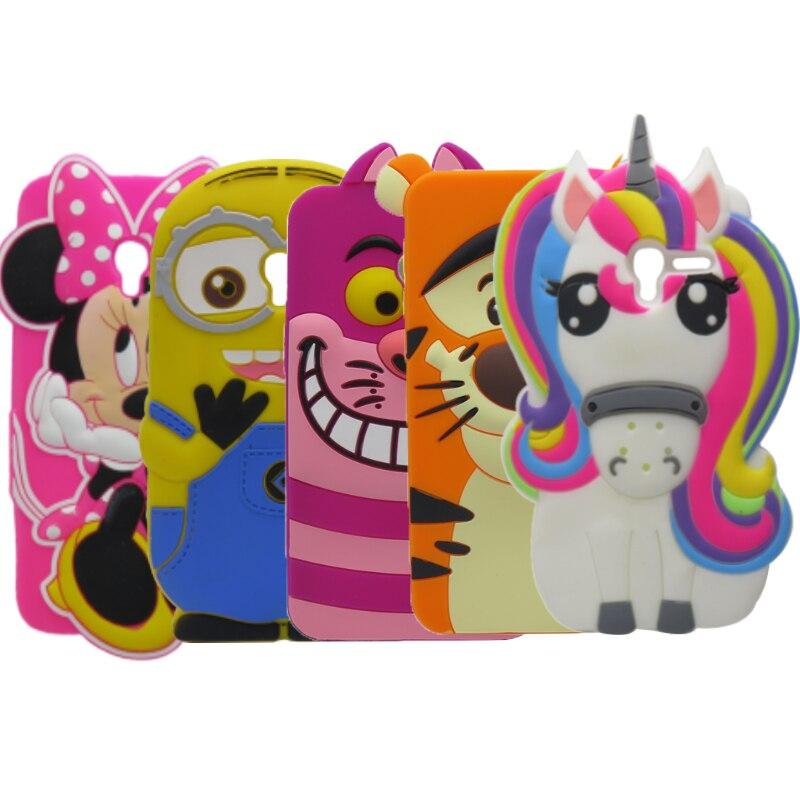 3D Mignon Minnie Licorne Silicone Mobile Téléphone Sacs Cas Couverture Pour Alcatel OneTouch Pop 3 5.0 pouce 5016A 5015D 5015E 5065D 5015