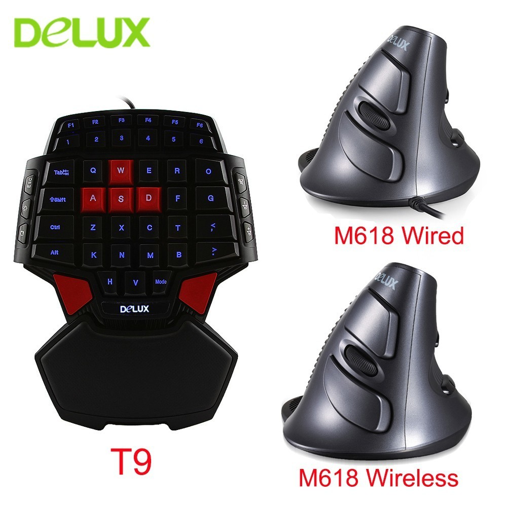 Delux Wired Mouse Keyboard Combos Ergonomic Single Hand T9 Mini Gaming Keypad with Optical M618 Vertical Mice Kit For PC Laptop