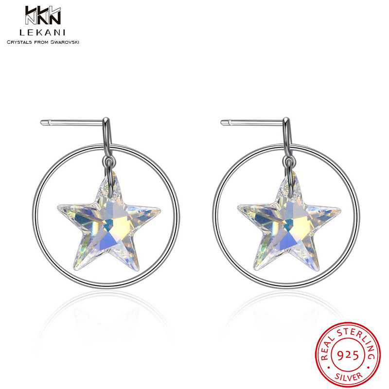 Us 20 8 25 Off Lekani Crystals From Swarovski Erfly Crystal Stud Earrings 925 Fashion Five Pointed Star Christmas Gift Jewels In
