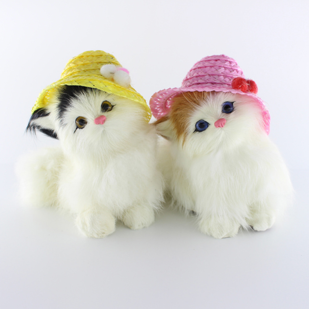 Lovely Small Simulation Animal Doll Plush Sleeping Cats Wearing Hat Kids Toy Decorations Birthday Gift Doll Stuffed Toy rabbit plush keychain cute simulation rabbit animal fur doll plush toy kids birthday gift doll keychain bag decorations stuffed