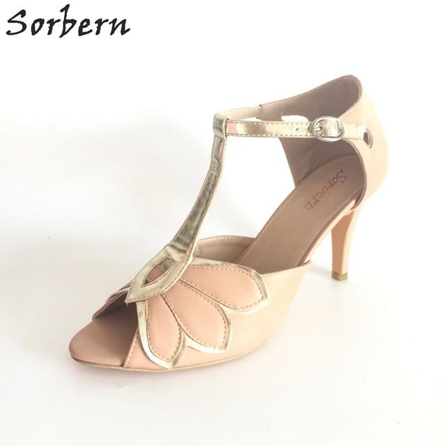 87e1ad82388 Sorbern T-Strap Custom Color Wedding Shoes Sandals Women Shoes 42 Bridal  Shoes Size 34-46 Blush Pink Shoes For Women Open Toe