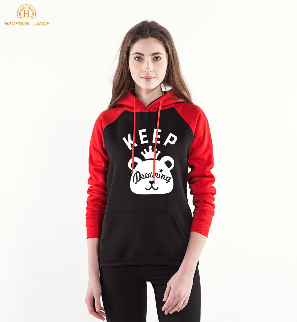 Keep Dreaming Kawaii Bear Print Raglan Hoodies For Girls 2019 Spring Autumn Casual Red Sweatshirts Women's K-pop Harajuku Hoody