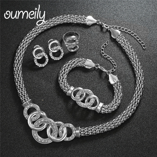 OUMEILY 2018 African Jewelry Set Dubai Gold Silver Jewelry Sets For Women Round Wedding Jewellery Set Bridal Costume Jewelery 3