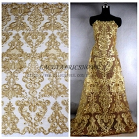 Gold Cord Sequins Brand Evening Wedding Dress Lace Fabric 51 Wine Black Off White Deep Blue