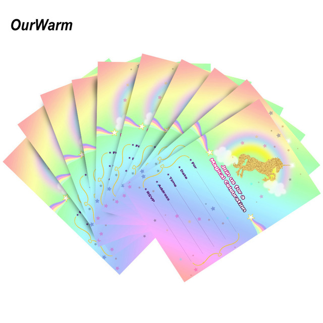 4317457db8548 US $4.28 10% OFF|OurWarm 10Pcs Unicorn Birthday Invitations Magical Unicorn  Party Invitations Card with Envelopes Rainbow Birthday Party Supplies-in ...