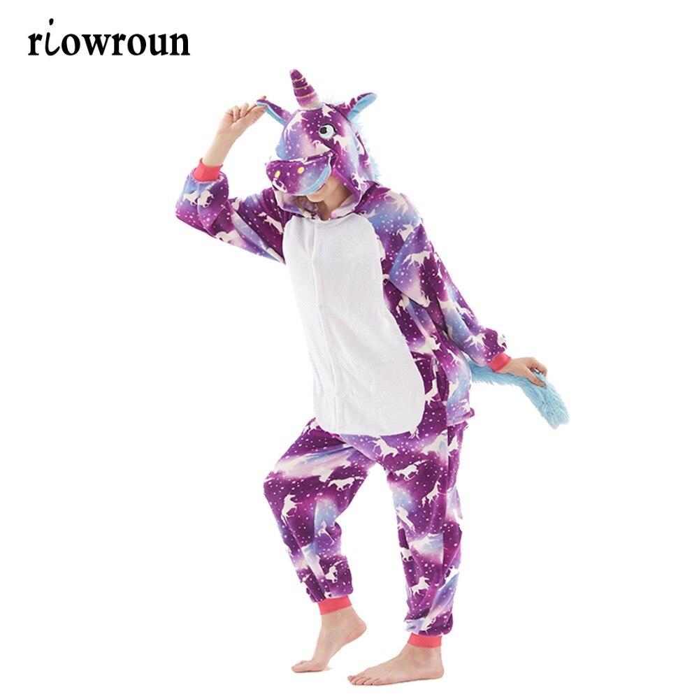 Pink Unicorn   Pajamas     Sets   Flannel Animal   Pajamas   Winter Nightie Stitch unicornio Sleepwear for Women Men Adults pigama Halloween