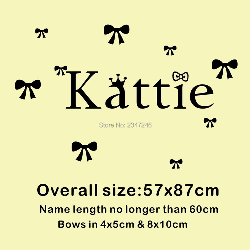 Custom Personalized Girls Name Wall Stickers Butterfly Knot Wall ...