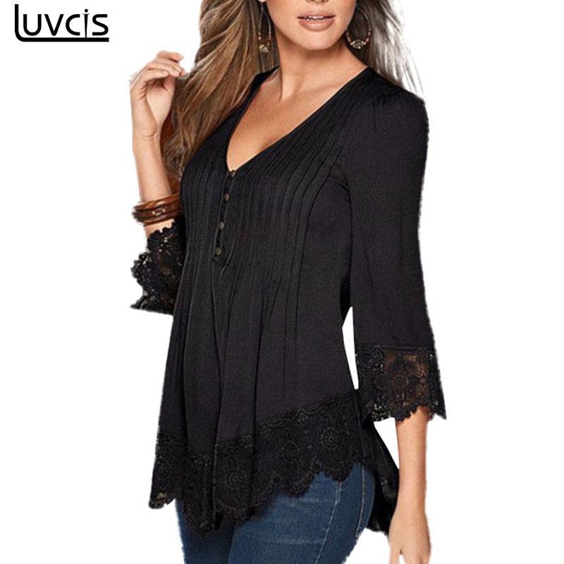 Luvcis Hot Sale 2017 Summer Women Ladies Casual V Neck Long Sleeve Cotton Lace T Shirts