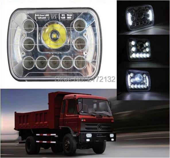 1pair led sealed beam 55W 7x6 inch led work light with 7inch truck headlight High/low beam KR745W Free shipping