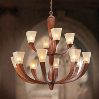 Luxury Artificial mahogany Chandelier for Living Room church stained glass shade Chandelier Restaurant Resin man made wood Lamp