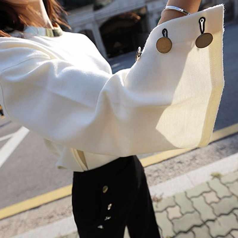 TWOTWINSTYLE مضيئة كم T قميص الإناث انقسام يا الرقبة مع قلادة الأبيض السترة تي شيرت 2019 أزياء ربيع OL الملابس