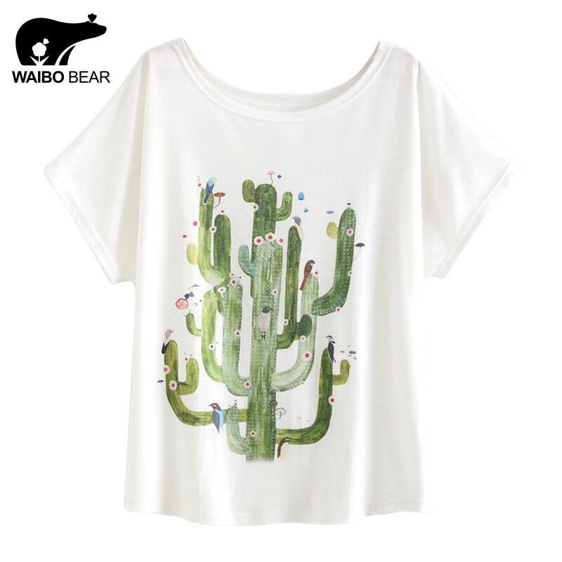 211d3e74 Women Harajuku T Shirt Cactus Plant Print Short Sleeve T shirt Loose Tee  Shirt Femme Fashion Basic Shirt Plus Size WAIBO BEAR-in T-Shirts from  Women's ...