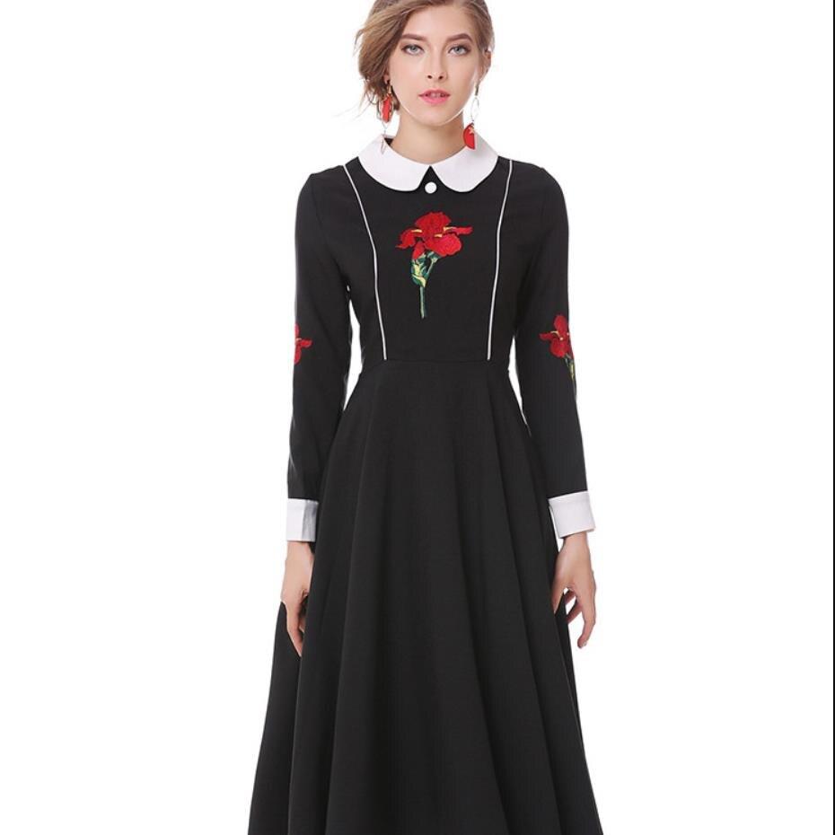 2019 automne nouveau style vintage broderie femmes robe en cachemire romain col claudine taille haute noir élégant robe gx1233