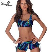 Sport Tank Top Swimwear Women Mid Waist Swimsuit Trunks Bikinis Set Bottom Vintage Print Push Up Padded Bathing Suit Beachwears