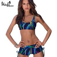 Sport Tank Top Stroje Kąpielowe Kobiet Połowie Talii Pni Strój Kąpielowy Bikini Set Dołu Rocznika Druku Push Up Strój Kąpielowy Usztywniany Beachwears