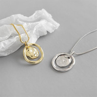 Trend Korea Silver S925 Temperament Female Jewelry Irregularity Concave Convex Surface Circle Pendant Necklaces Box Chain