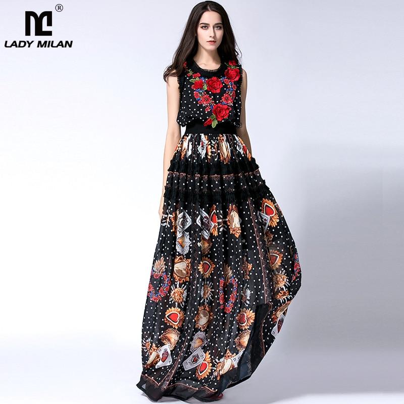 New Arrival 2018 Womens O Neck Sleeveless Embroidery Ruffles Printed Long Prom Elegant Maxi Runway Dresses