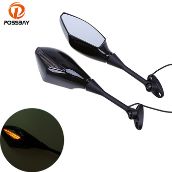 Universal Motorcycle Mirrors LED Turn Signal Light Rearview Mirrors Retrovisor Moto ATV for Harley Honda Suzuki Rear Mirror